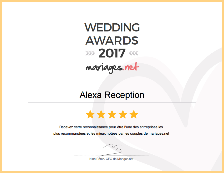 Récompense Wedding award 2017 Mariagesnet